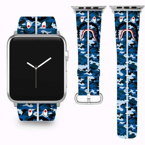 Bape Shark Apple Watch Band 38 40 42 44 mm Series 1 - 5 Fabric Leather Strap 1