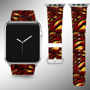 Superman Apple Watch Band 38 40 42 44 mm Fabric Leather Strap 01