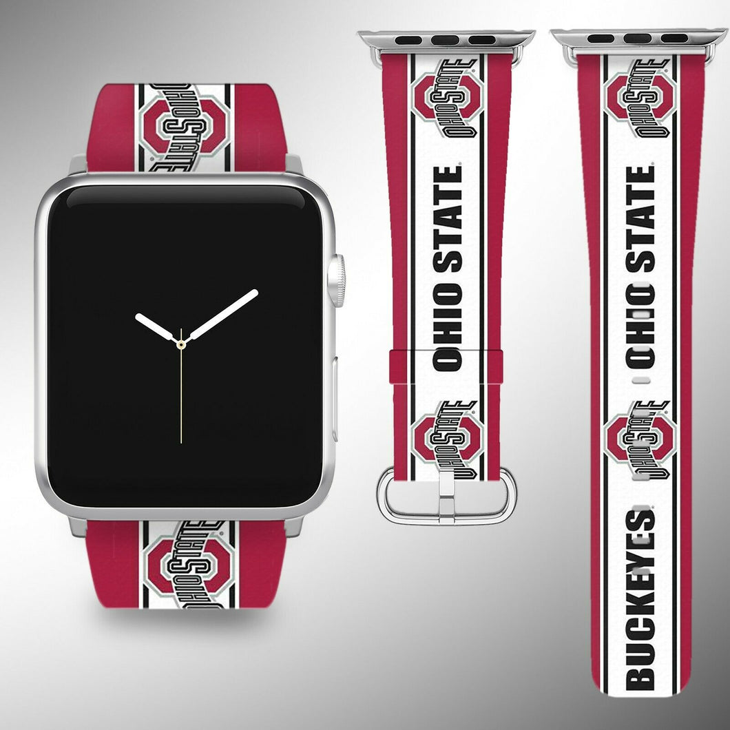 Ohio State Buckeyes Apple Watch Band 38 40 42 44 mm Fabric Leather Strap 2