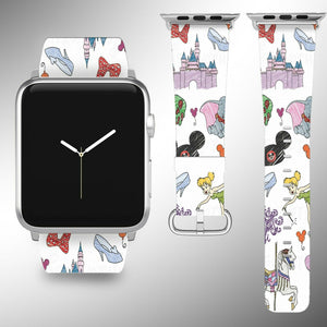 Cartoon Characters Apple Watch Band 38 40 42 44 mm Disney 1 2 3 4 Wrist Strap