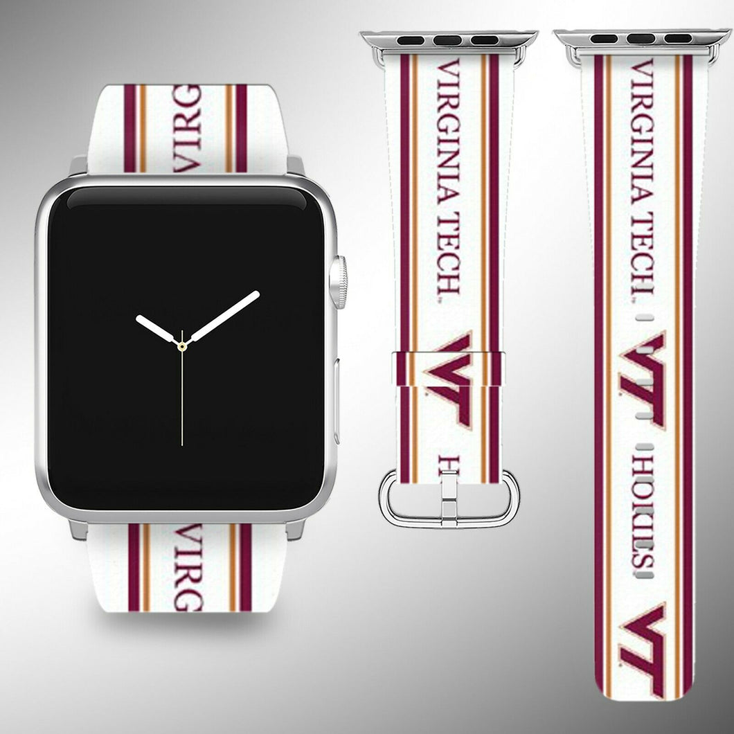 Virginia Tech Hokies Apple Watch Band 38 40 42 44 mm Fabric Leather Strap 1