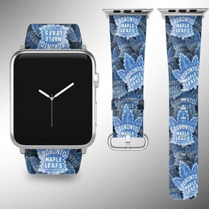 Toronto Maple Leafs Apple Watch Band 38 40 42 44 mm Fabric Leather Strap 01