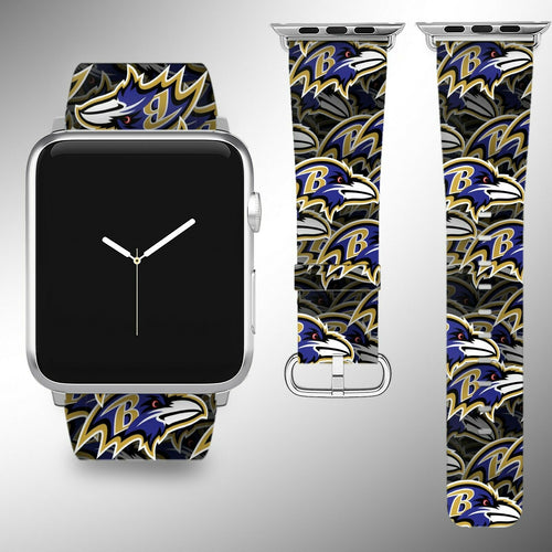 Baltimore Ravens Apple Watch Band 38 40 42 44 mm Fabric Leather Strap 1