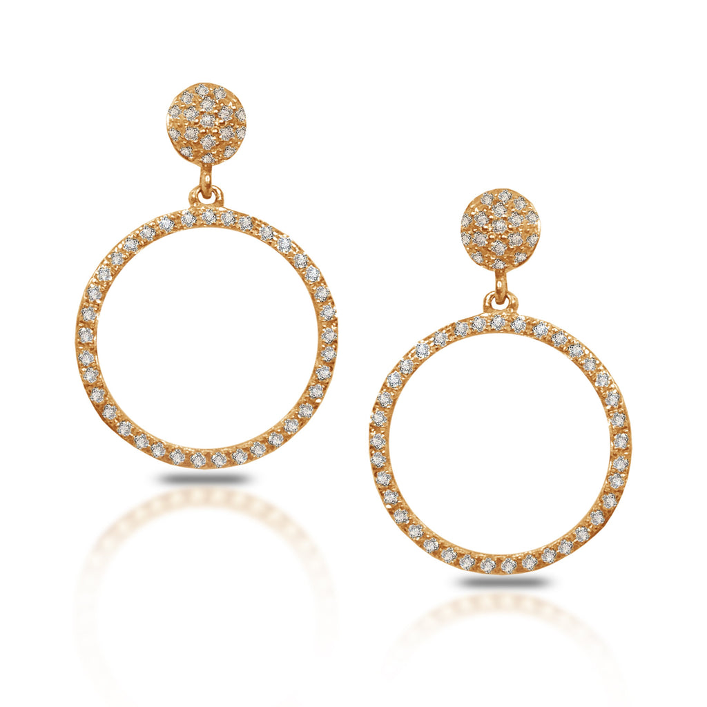 14K Gold Diamond Pave Open Circle Dangle Earrings AJE1173