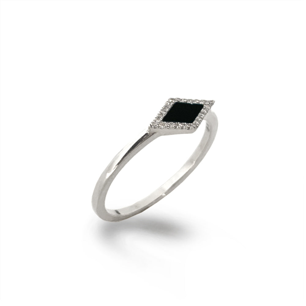 14K Marquise Onyx & Diamond Stack Ring MR71675OX