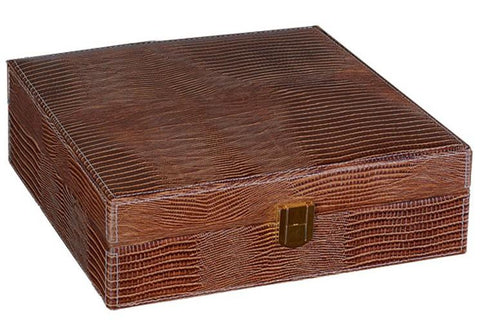 Prestige Alligator 25 Ct. Humidor Accessory Cigar Room ALG/BRN