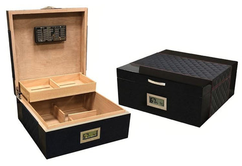 Prestige Hampton 200 Ct. Desktop & End Table Humidor Cigar Room HMPTN/BLK
