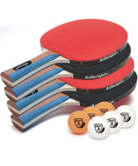 Killerspin JET SET 4 Ping Pong Paddles and 6 Balls Game Room 110-09