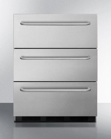 "Summit Appliance 24"" Wide 3-Drawer Outdoor All-Refrigerator Compliant Bar Room SP6DSSTBOS7ADA"
