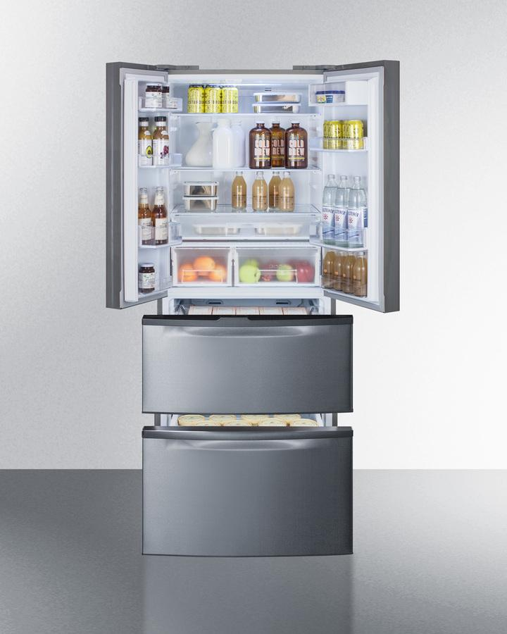 "Summit Appliance 27"" Wide French Door Freezer Refrigerator Bar Room FDRD15SS"