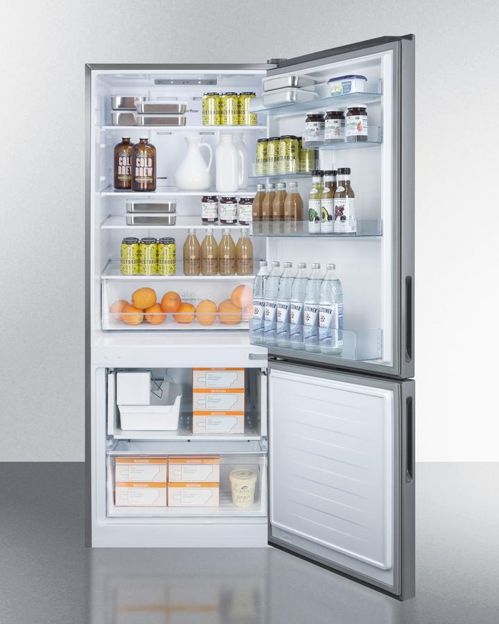 "Summit Appliance 28"" Wide Built-In Bottom Freezer Refrigerator With Icemaker Bar Room FFBF279SSIM"