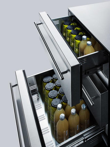 "Summit Appliance 24"" Wide 3-Drawer Outdoor All-Refrigerator Bar Room SP6DSSTBOS7THIN"