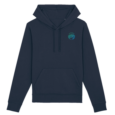 Unlimited Adventure in Blau Pocket Print | Unisex Hoody mit Fronttasche