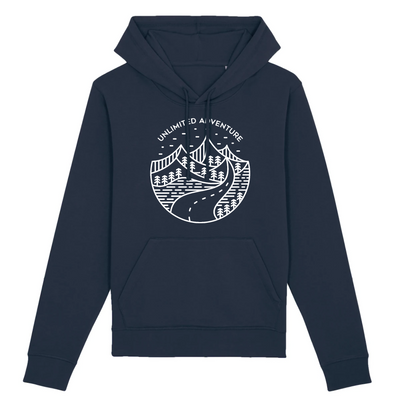 Unlimited Adventure in Weiß | Unisex Hoody mit Fronttasche