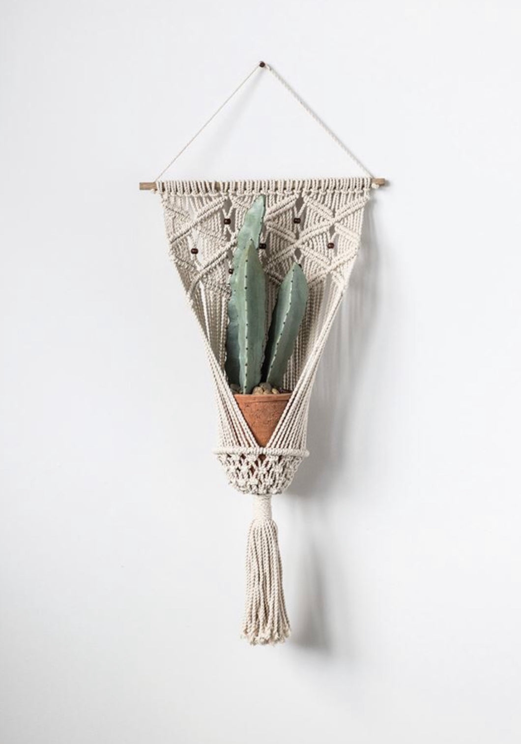 Cotton Macrame Plant Hanger With Wooden Beads