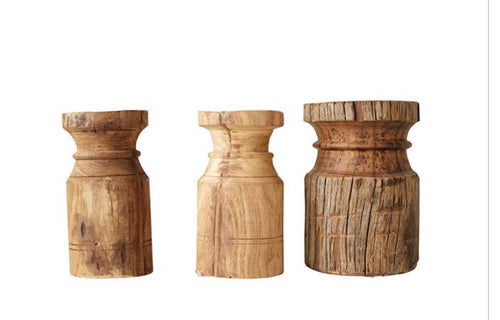 Wood Carved Pillar Candle Holders