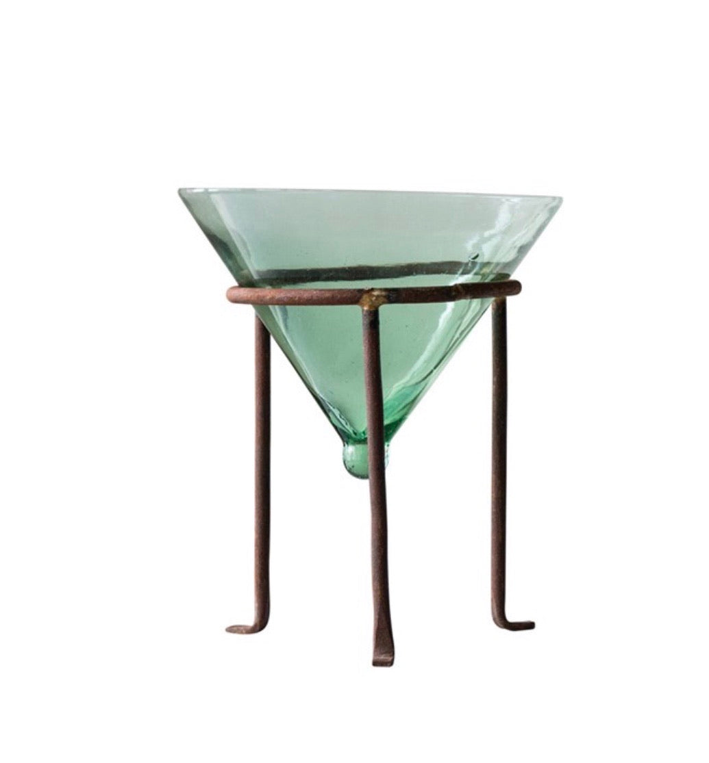Glass Planter with Metal Stand