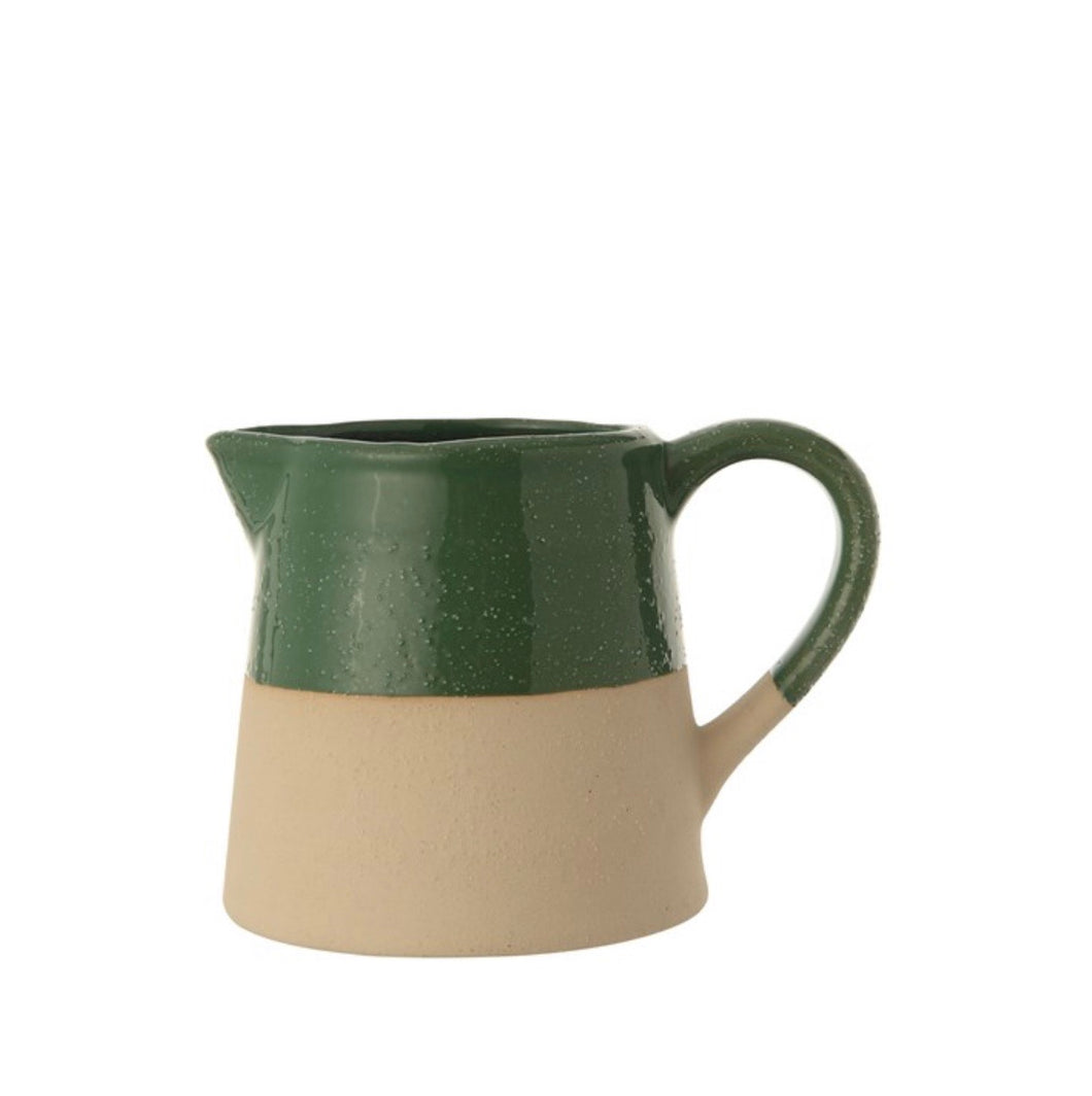 Green Glazed Stoneware Pitcher