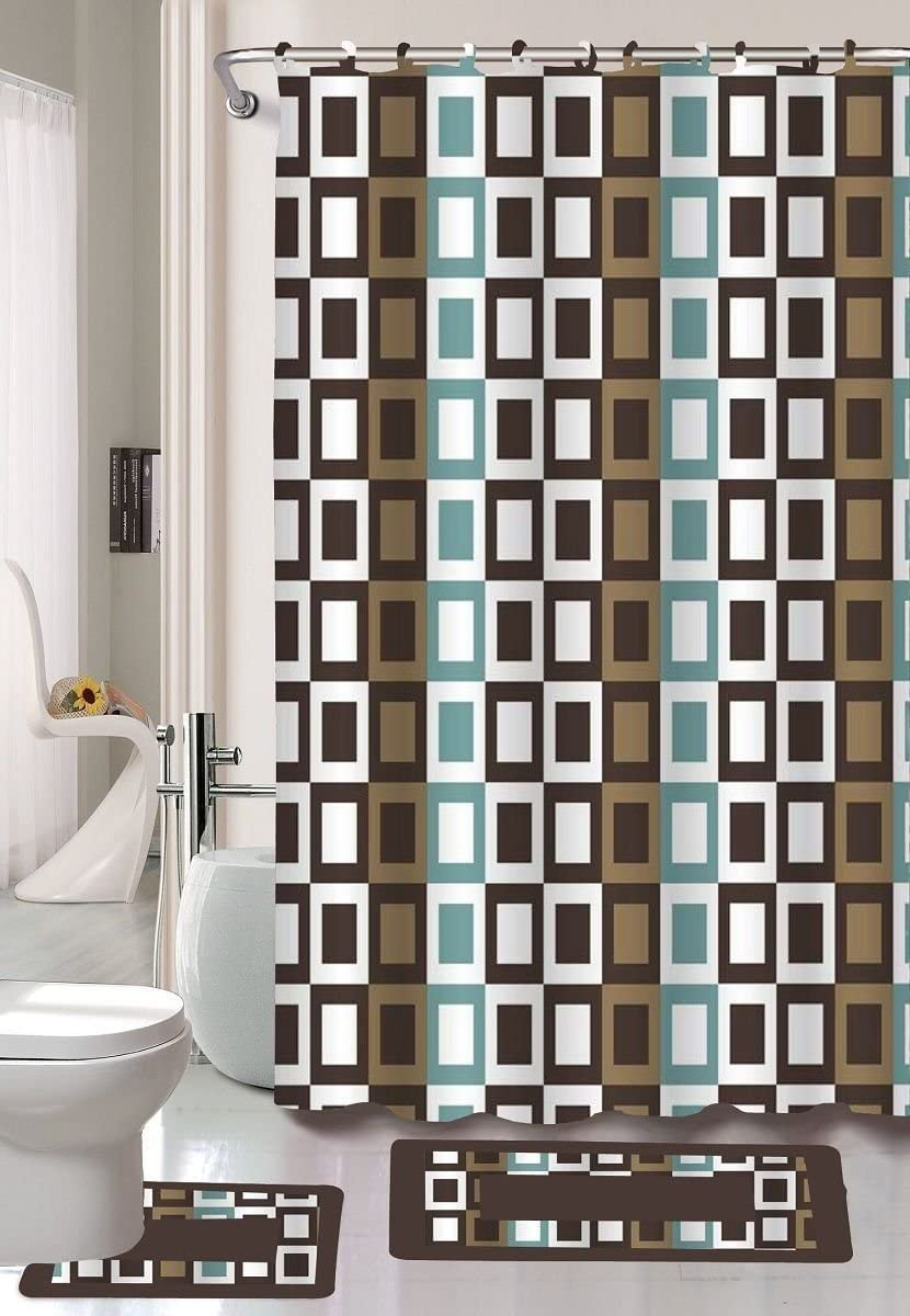 Checker 15-Piece Bathroom Accessory Set Bath Mats Shower Curtain - Brown & Blue