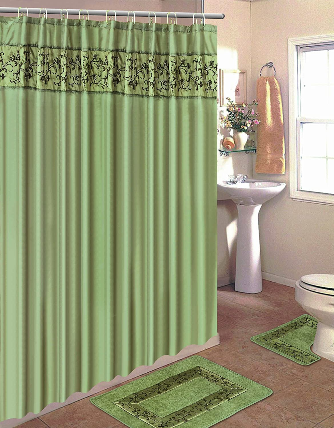 Embroidery 15-Piece Bathroom Accessory Set Bath Mats Shower Curtain - Green Floral