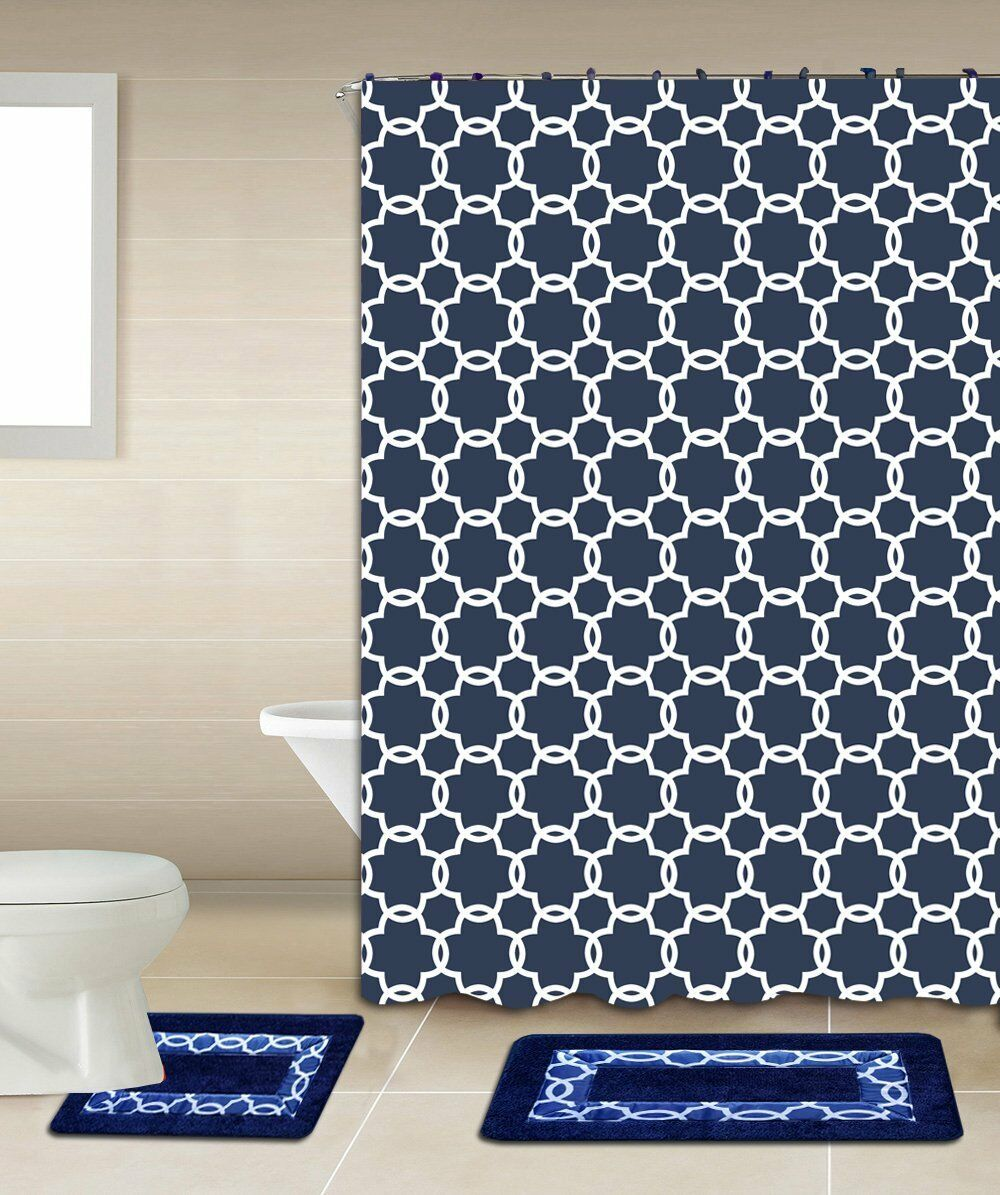Galaxy 15-Piece Bathroom Accessory Set Bath Mats Shower Curtain - Navy Blue