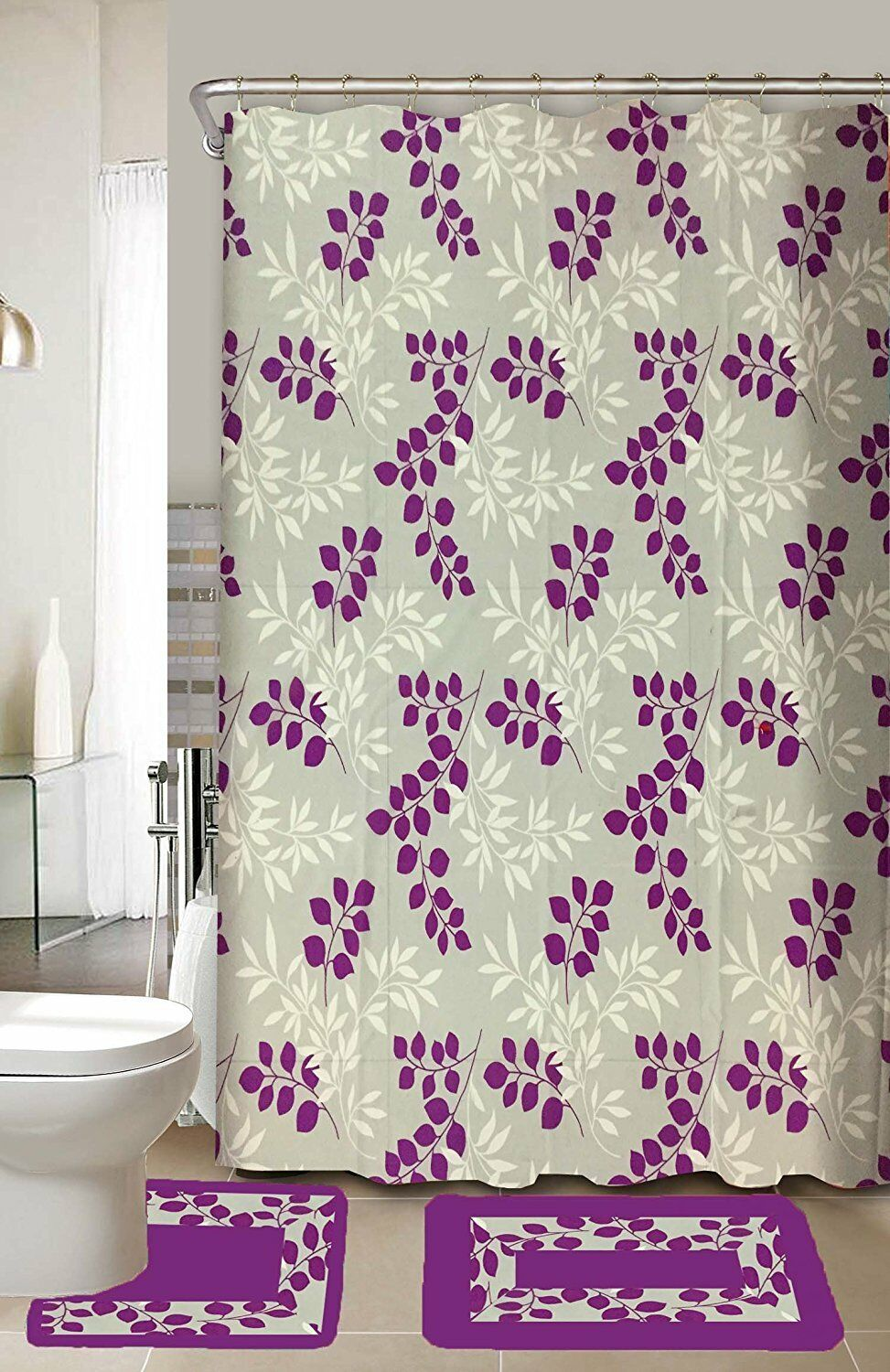 Maria 15-Piece Bathroom Accessory Set Bath Mats Shower Curtain - Purple leaf
