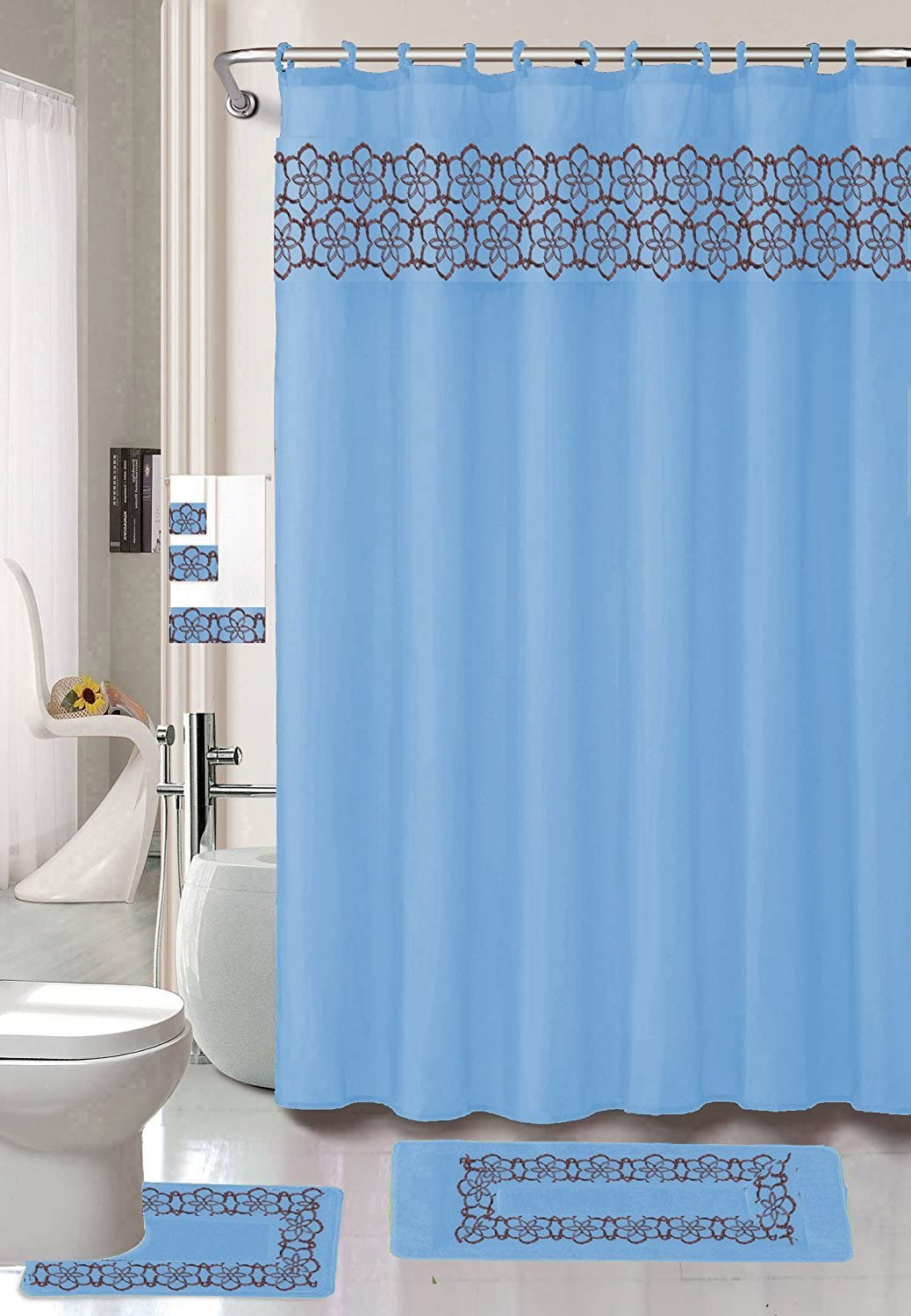 Embroidery 18-Piece Bathroom Accessory Set Floral Bath Mats Shower Curtain & Towels - Light Blue