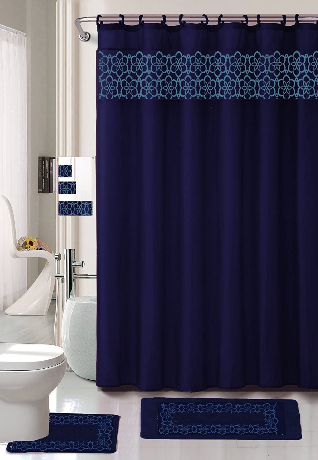 Embroidery 18-Piece Bathroom Accessory Set Floral Bath Mats Shower Curtain & Towels - Navy Blue