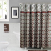 Peony 18-Piece Bathroom Accessory Set Bath Mats Shower Curtain & Towels - Brown & Burgundy