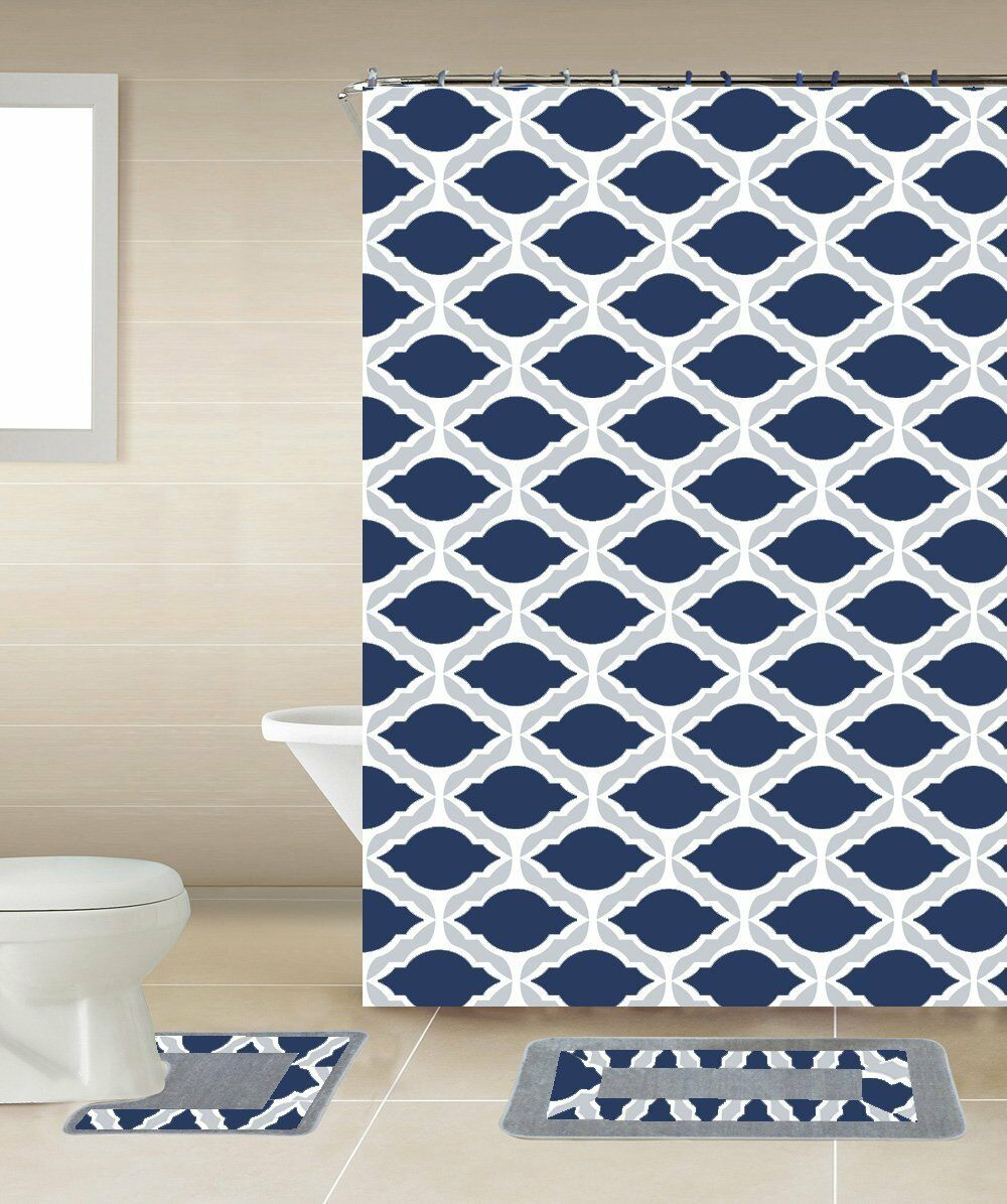 Thea 18-Piece Bathroom Accessory Set Bath Mats Shower Curtain & Towels - Navy Blue