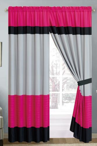 Elena Window Curtains Rod Pocket Panels Set of 2 - Pink & Gray