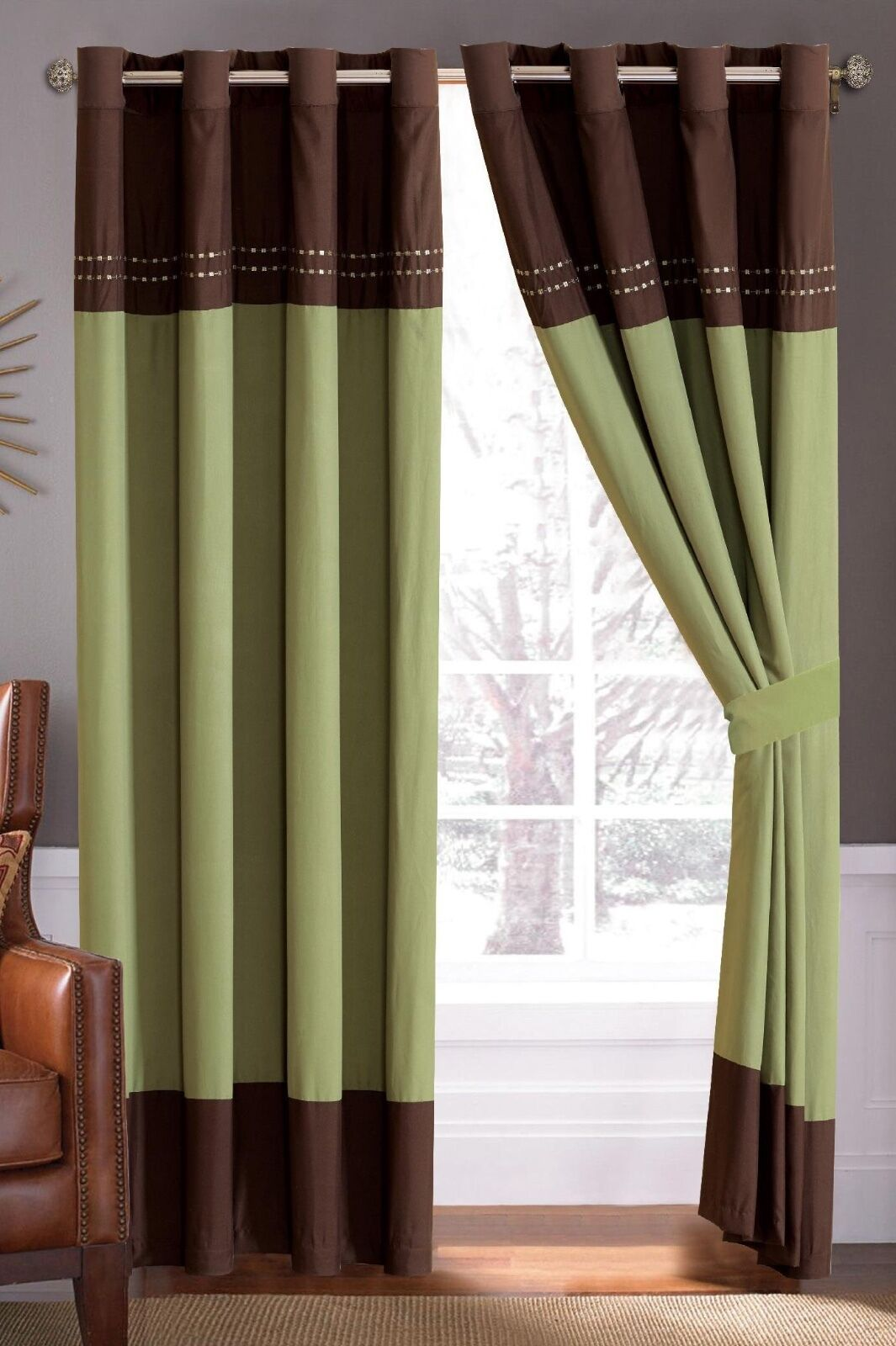 Andrea Embroidery Window Curtains Grommet Panels Set of 2 - Green