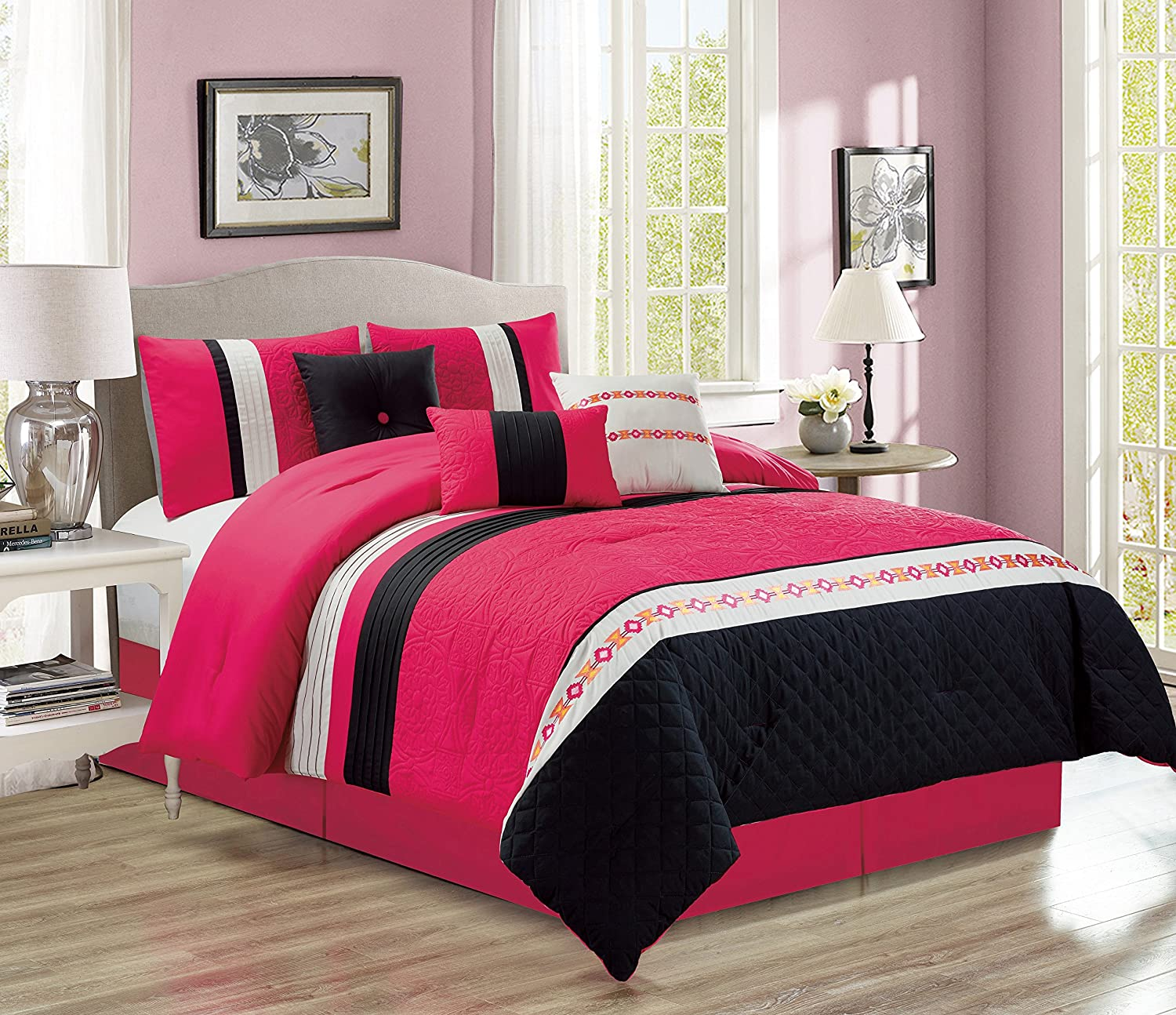 Lina 7-Piece Embossed Comforter Set Bedding - Pink & Black