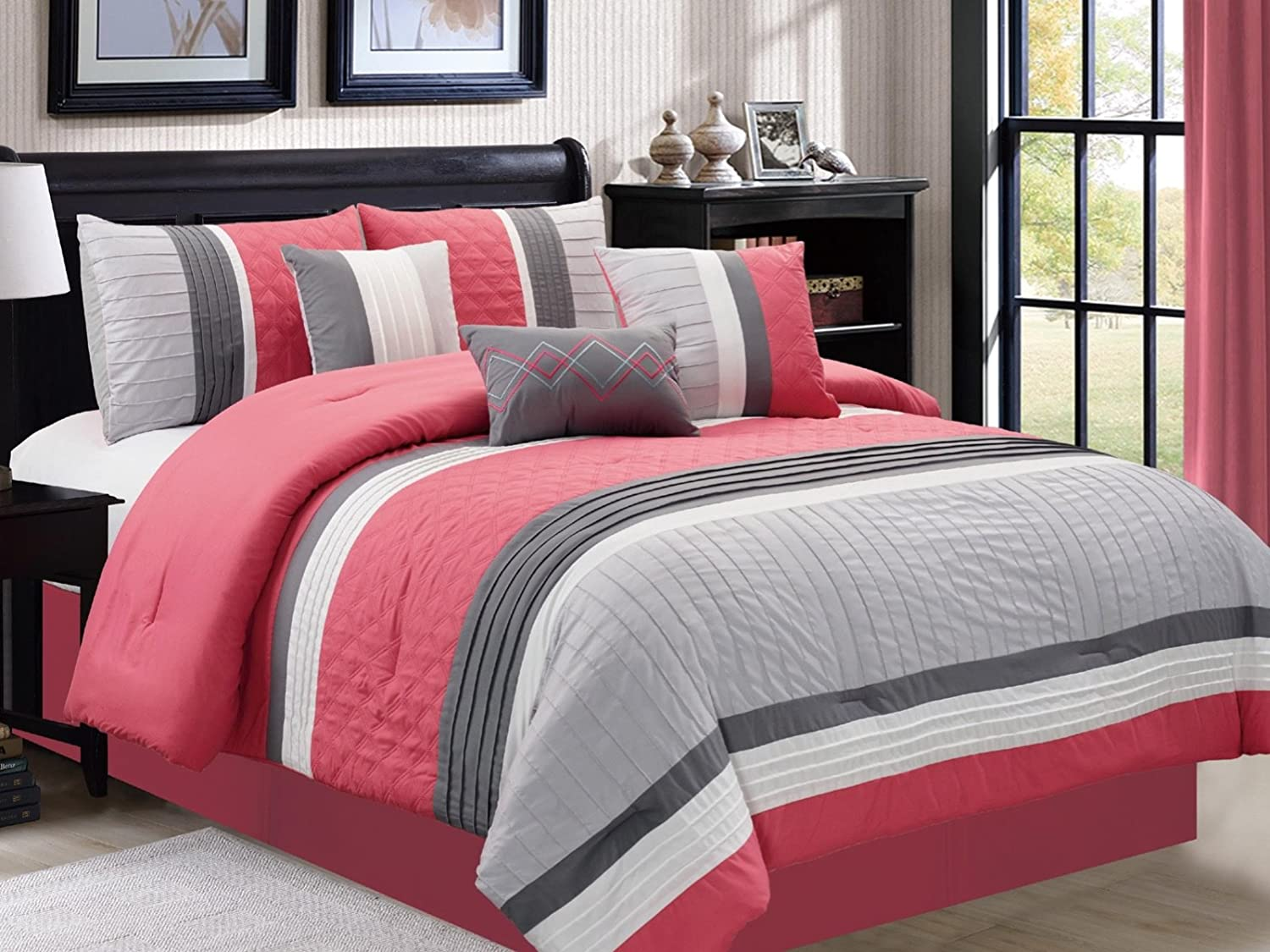 Embossed 7-Piece Comforter Set Bedding - Pink & Gray