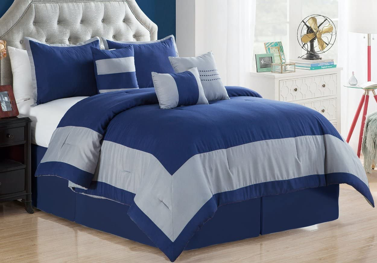 Madison 7-Piece Comforter Set Oversize Bedding - Navy Blue & Gray