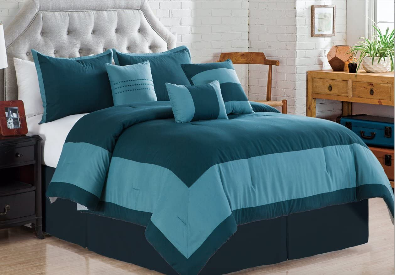 Madison 7-Piece Comforter Set Oversize Bedding - Teal Blue