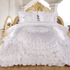 Hiyam 3-Piece Real 3D Comforter Set Bedspread Floral Ruffle - White