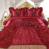 Dreams 3-Piece Real 3D Comforter Set Bedspread Floral Ruffle - Burgundy