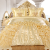 Dreams 3-Piece Real 3D Comforter Set Bedspread Floral Ruffle - Gold