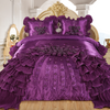 Dreams 3-Piece Real 3D Comforter Set Bedspread Floral Ruffle - Purple
