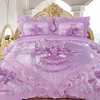 Love 3-Piece Real 3D Comforter Set Bedspread Floral Ruffle - Lilac