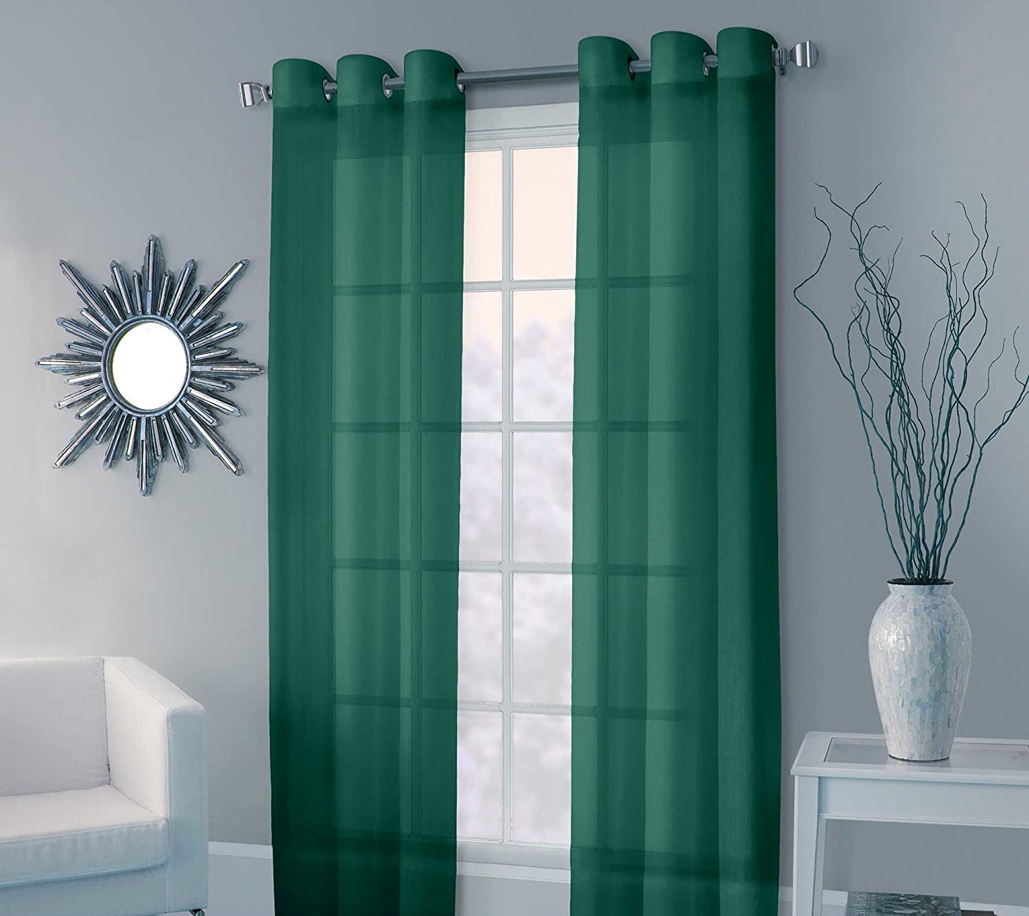 Faux Silk Grommet Window Curtain Panels - Set of 2