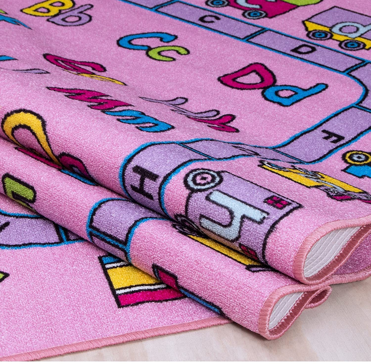 ABC Fun- Children's 5' X 7' Area Rug Kids Nursery Carpet Play Mat Pink