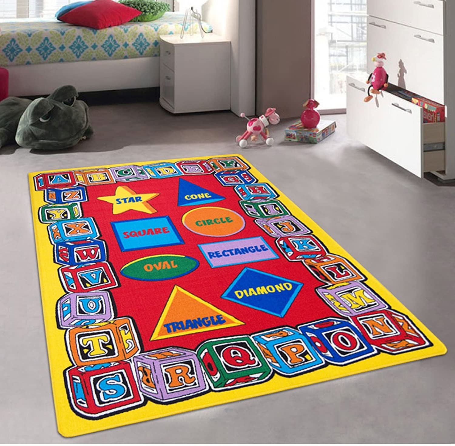 ABC Shapes - Children's 5' X 7' Area Rug Kids Nursery Carpet Play Mat