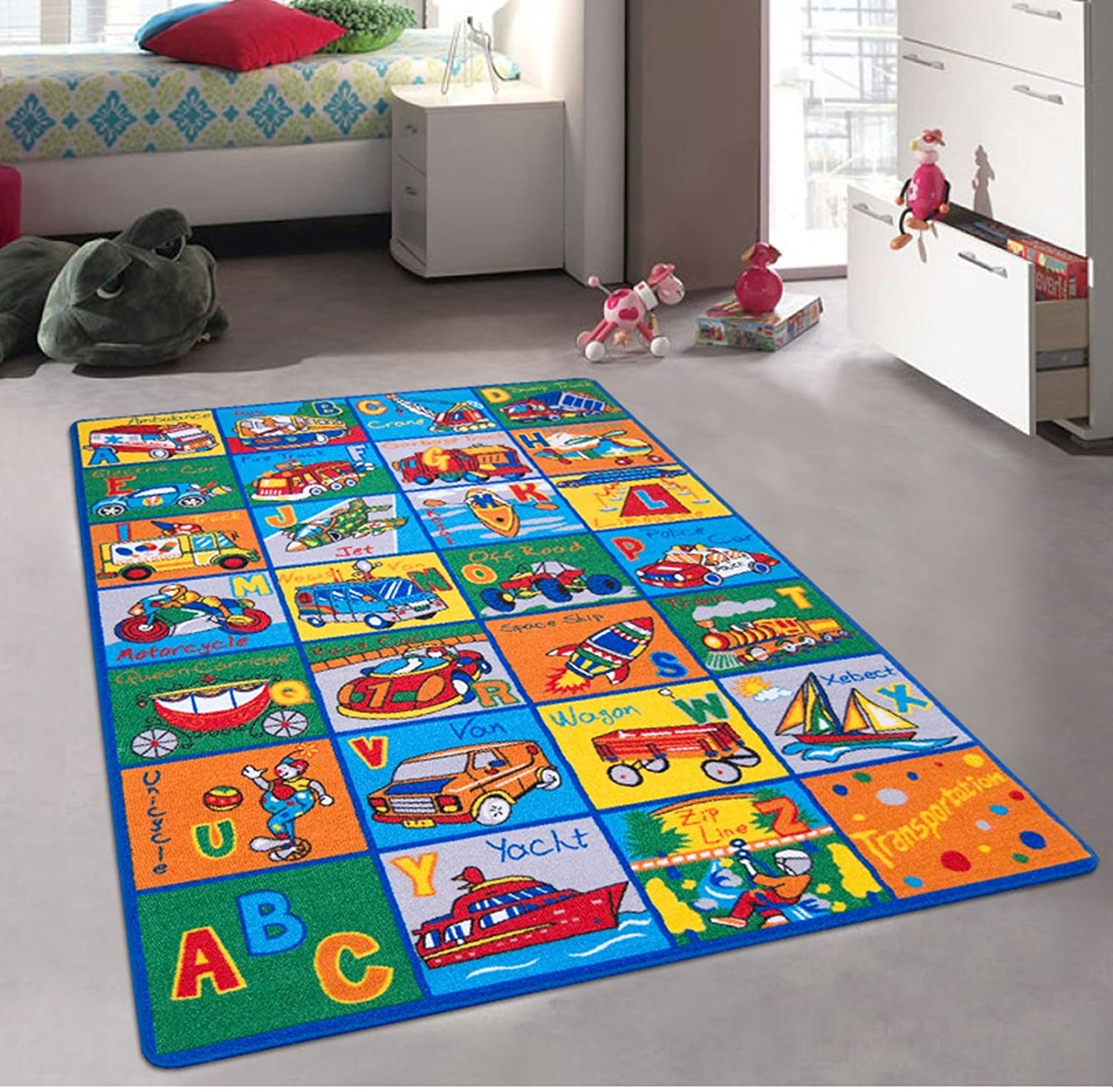 ABC Transportation - Children's Area Rug Kids Nursery Carpet Play Mat