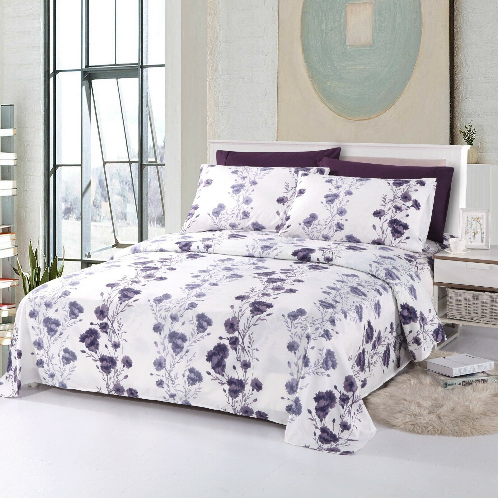 Arora Collection Soft Microfiber 6-Piece Sheet Set Printed - Violet Purple