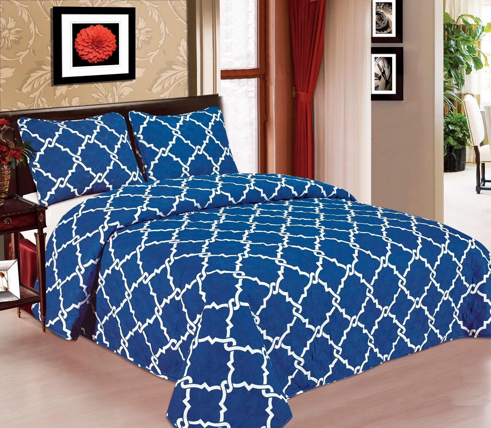 Galaxy 3-Piece Quilted Bedspread Soft Microfiber Bedding Set- Royal Blue