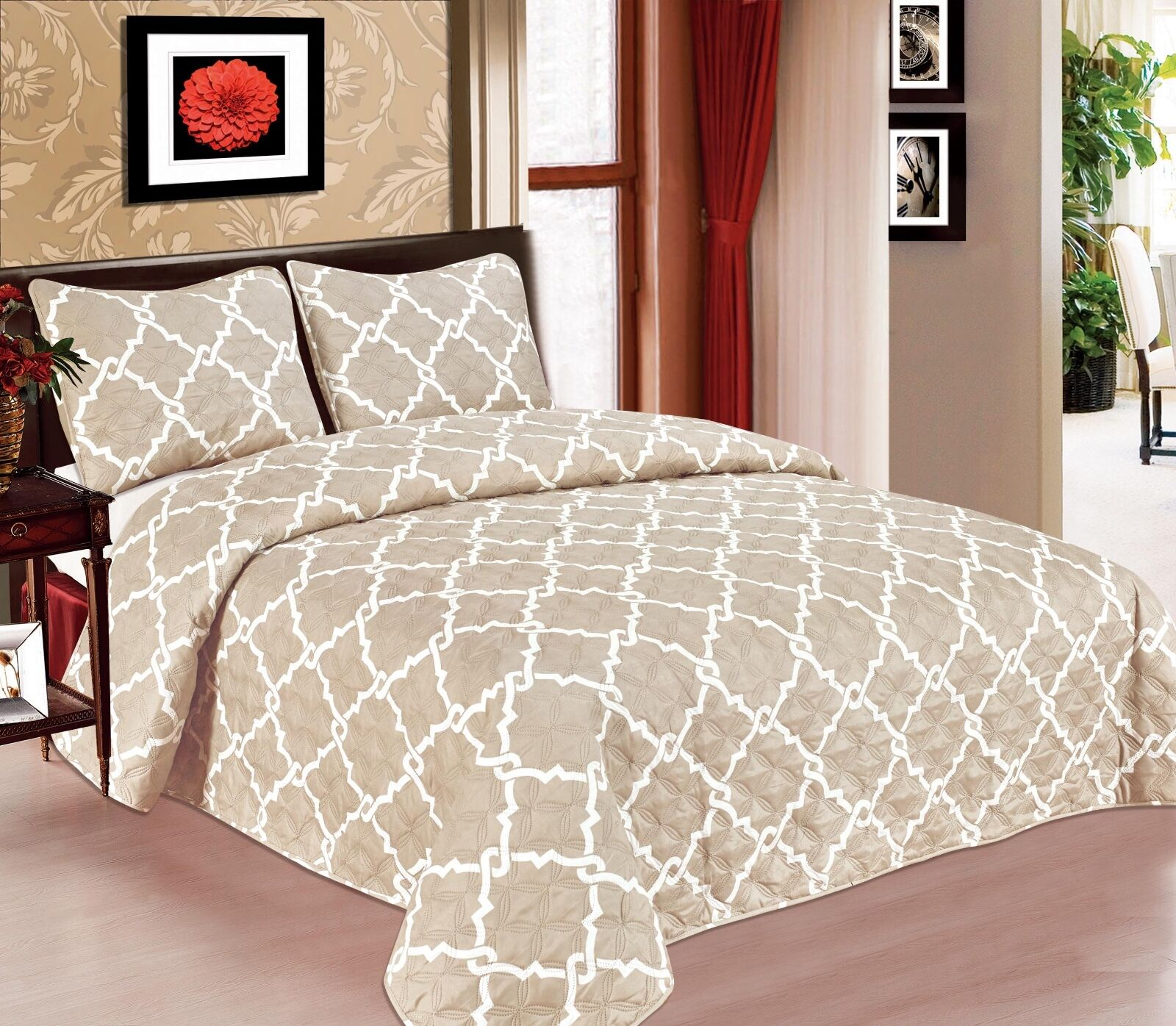 Galaxy 3-Piece Quilted Bedspread Soft Microfiber Bedding Set- Taupe