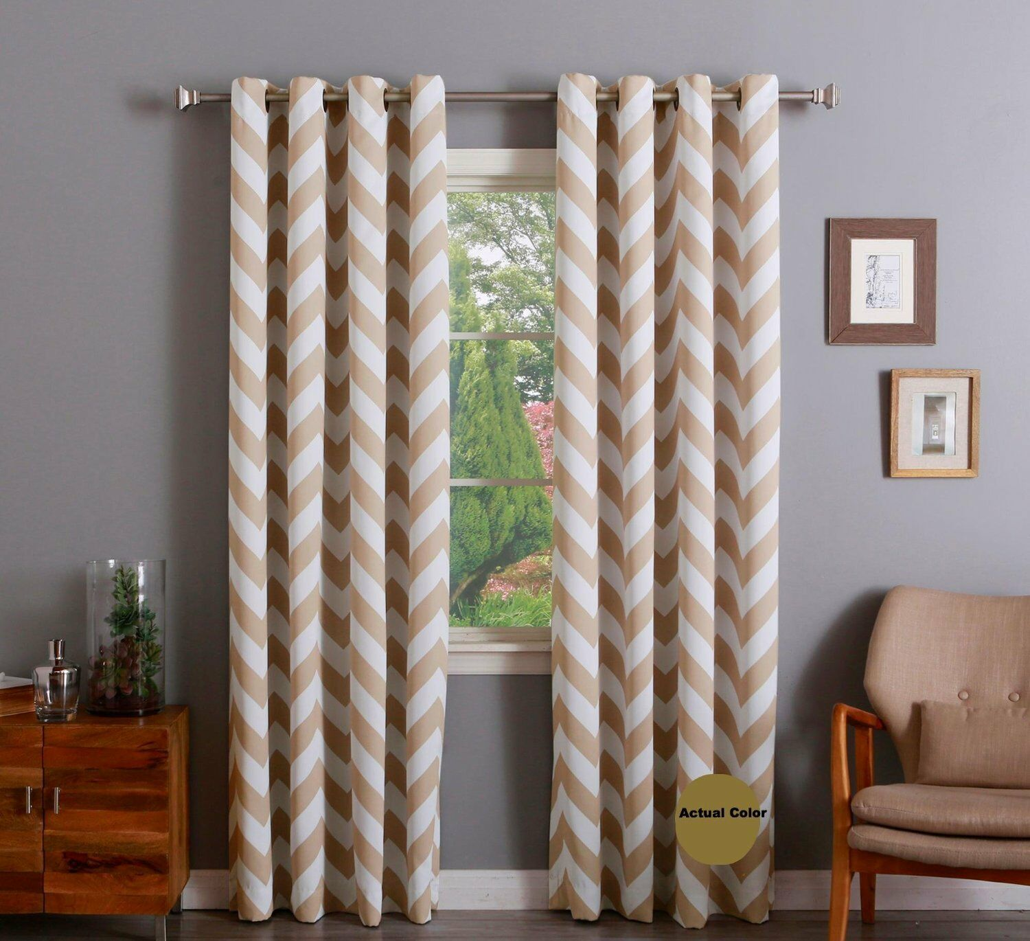 "Chevron 100% Thermal Blackout Grommet Curtain Panel 84"" x 52"" - Antique Taupe"
