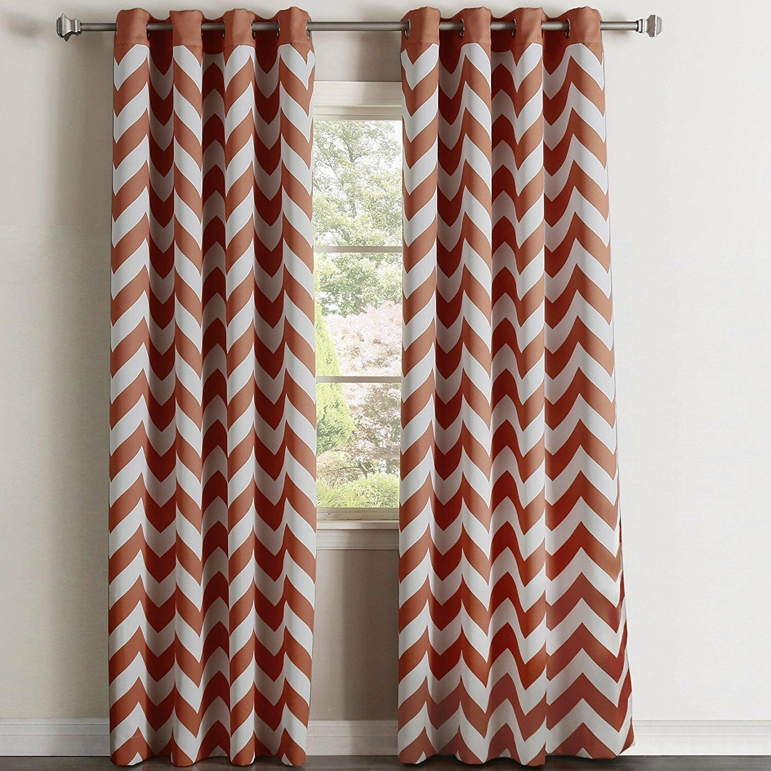 "Chevron 100% Thermal Blackout Grommet Curtain Panel 84"" x 52"" - Rust"